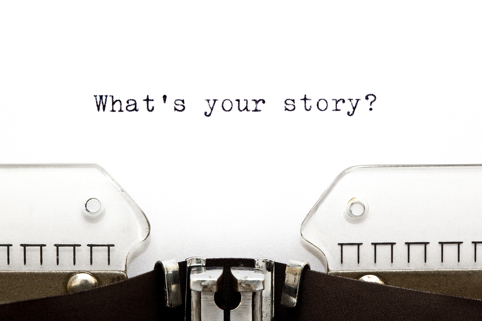 Concept image with What is Your Story printed on an old typewriter